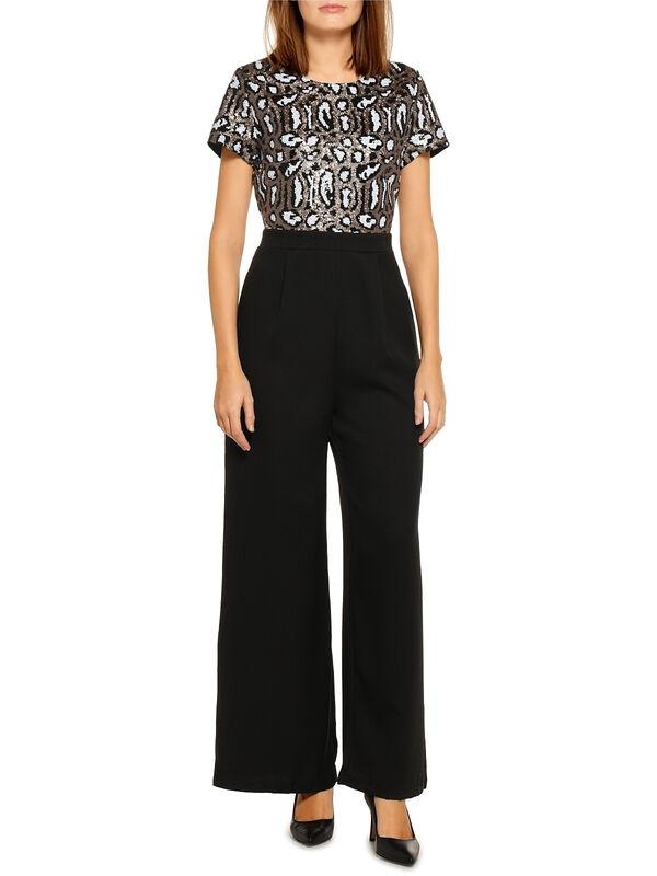 Yumi Sequin Body Jumpsuit schwarz/gold/weiß | Dress-for-less
