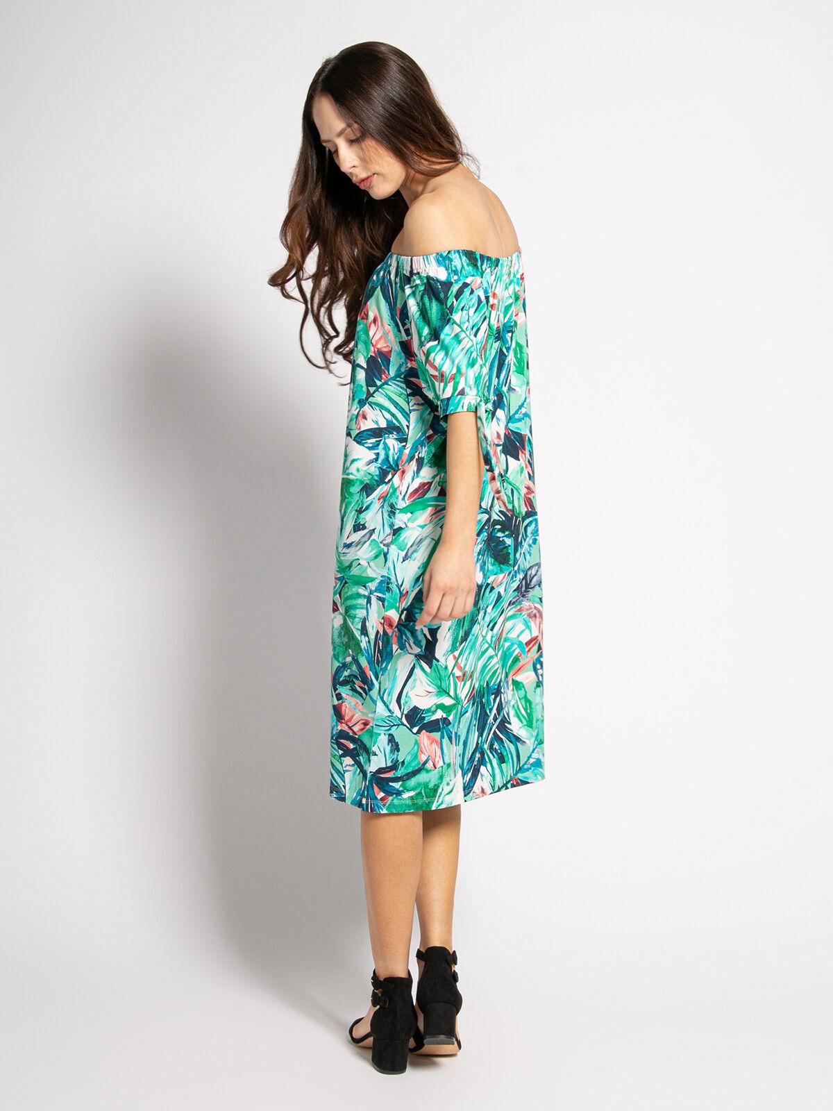 Miss Via Kleid Mit Carmen Ausschnitt Grun Weiss Rot Blau Turkis Dress For Less