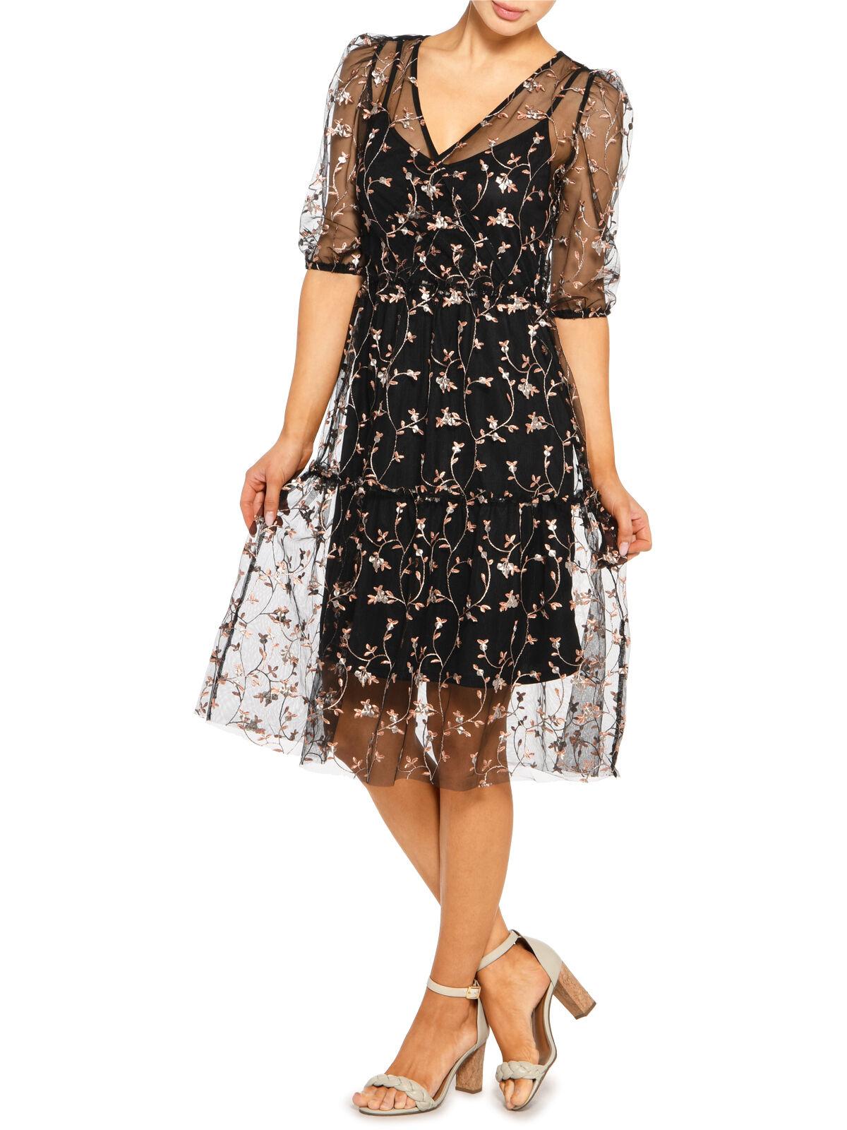 Vero Moda Embroidered Dress Vip Schwarz Dress For Less
